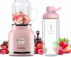 Homeleader  Smoothie Blender,  Personal Blender for Shakes and Smoothies, Portable Blender with 6 Sharp Blades, 21oz Travel Cup and Lids, Pink