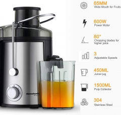 Juicer, Homeleader Juice Extractor for 3 Speed, Centrifugal Juicer Machine with Wide Mouth for Fruits and Vegetables, BPA-FREE
