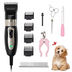 BOLUONI Dog Clippers Shaver 12V High Power Dog Grooming Clippers for Thick Heavy Coats Plug-in Professional Pet Trimmer Clippers Kit with 4 Guard Comb