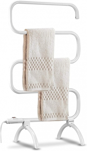Towel Warmer for Bath and Heated Drying Rack, Free Standing and Wall Mounted Optional, 120 Watt Heated Towel Rack, White