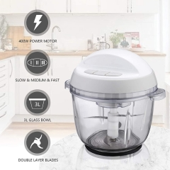 Homeleader Food Chopper, 10 Cup Electric Food Processor, 3L Large Size BPA-Free Glass Bowl Blender Grinder with 3 Speeds for Meat, Vegetables, Fruits